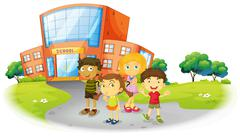 Boys and girls standing on the school ground Stock Illustration