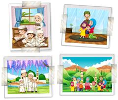 Four photo frames of muslim family Stock Illustration