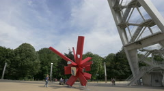 Arik Levy's sculpture near the Atomium in Brussels Stock Footage