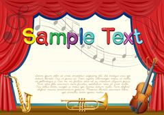 Certification template with musical instrument background Stock Illustration