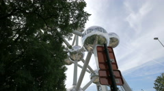Low angle view of the Atomium on a cloudy day in Brussels Stock Footage