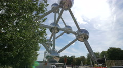 View of the Atomium on a sunny day in Brussels Stock Footage