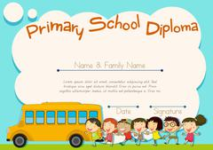 Primary school diploma with schoolbus and kids Stock Illustration