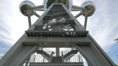 Low angle view of the Atomium's outside staircase in Brussels Stock Footage