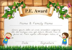 Certification template for physical education subject Stock Illustration