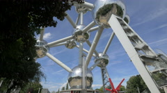 View of the famous Atomium in Brussels Stock Footage