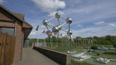 Mini-Europe, at the foot of the Atomium in Brussels Stock Footage