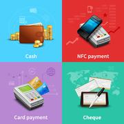 Payment Realistic Set Stock Illustration