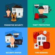 Home Security 2x2 Design Concept Set - stock illustration