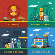 Stock Illustration of Garbage Removal 2x2 Design Concept