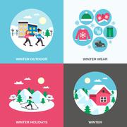 Winter 4 Flat Icons Square Banner Stock Illustration