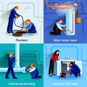 Plumber icons set - stock illustration