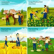 Farming 2x2 Design Concept Stock Illustration