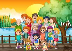 Family members standing on the bridge at sunset Stock Illustration