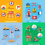 Lifeguard 4 Flat Icons Square Composition Stock Illustration