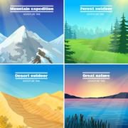 Camping Landscapes 4 Flat Icons Square Stock Illustration