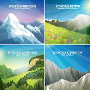 Mountain Landscapes 4 Flat Icons Square Stock Illustration
