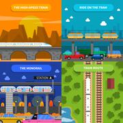 Train Concept Icons Set - stock illustration
