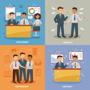 Business life set - stock illustration