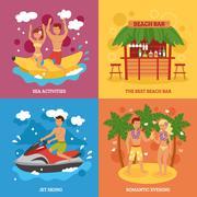 Beach icons set - stock illustration