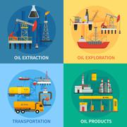 Oil Petrol Industry 2x2 Images Stock Illustration