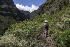 Hiker in Barranco de Ruiz San Juan de la Rambla Tenerife Canary Islands Spain Stock Photos