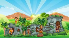 Cave people living in stone house Stock Illustration