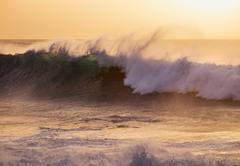 Ocean waves evening light Atlantic Valle Gran Rey La Gomera Canary Islands - stock photo