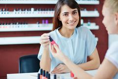 Visit to manicurist Stock Photos