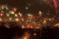 New Year fireworks Wilhelmsburg Hamburg Kuvituskuvat