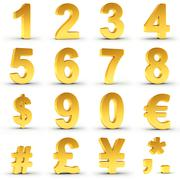 Numbers Set in Gold with clipping path - stock illustration