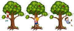 Boys climbing up the tree - stock illustration
