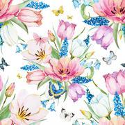 Gentle spring floral raster pattern - stock illustration