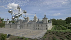 View of the El Escorial from Spain at the Mini-Europe, Brussels Stock Footage
