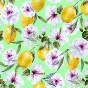 Watercolor vector lemon pattern Stock Illustration