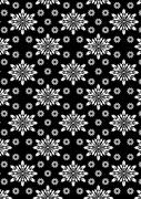 Black and white floral stencil pattern - stock illustration