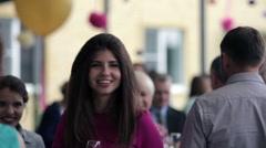 Girl smiling at celebration Stock Footage