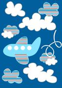 Striped passenger plane flying through the clouds - stock illustration