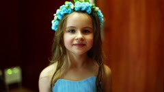 Little girl smiling close-up - stock footage