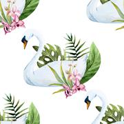 Watercolor swan pattern - stock illustration