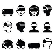 Virtual reality headset for 3D gaming, viewing icons Stock Illustration