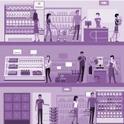 Stock Illustration of People in Supermarket Interior Design
