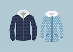 Male and Woman Winter Jacket Stock Illustration