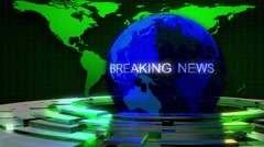 BREAKING NEWS FOOTAGE WITH BLUE EARTH AND GREEN LINES - stock footage