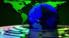 NEWS FOOTAGE WITH BLUE EARTH AND GREEN LINES Stock Footage