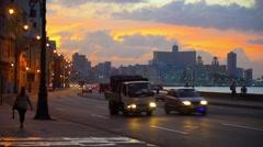 Cuba, Havana, Centro Habana, the Malecon, Vedado skyline (V00304.mp4) Stock Footage