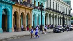 Cuba, Havana, La Habana Vieja, Paseo de Marti, classic 1950's American Cars - stock footage