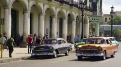 Cuba, Havana, La Habana Vieja, Paseo de Marti, classic 1950's American Cars Stock Footage