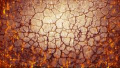 Seamless grunge ground fire burning through crack inferno background texture Stock Footage