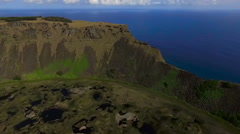 Rano Kau, Chile. Crater lake in the Easter Island Stock Footage